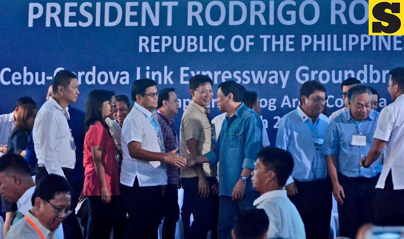President Rodrigo Duterte greet Cebu City Vice Mayor Edgardo Labella