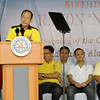 President Noynoy Aquino delivers his speech during the birthday of Danao City Vice Mayor Ramon Durano III at Nito's residence. At the back is DILG Secretary Jesse Robredo, Liberal Party president and DOTC Secretary Mar Roxas, Cebu 5th District Representative Red Durano,  and Junjun Davide. (Allan Cuizon)