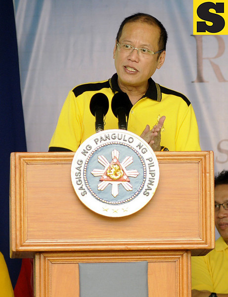 President Benigno Aquino III delivers his message during the birthday and oath taking of Danao City Vice Mayor Ramon Durano III as member of the Liberal Party. (Allan Cuizon)