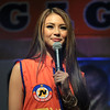 Commercial model/actress Sam Pinto greets the people who joined the proclamation rally of the United Nationalist Alliance (UNA) held at the Plaza Independencia, Cebu City on Tuesday, February 12, 2013. Sam supports JV Ejercito Estrada, who seeks senatorial seat for the May 2013 midterm election. (Photo by Daryl D. Anunciado of Sunnex)