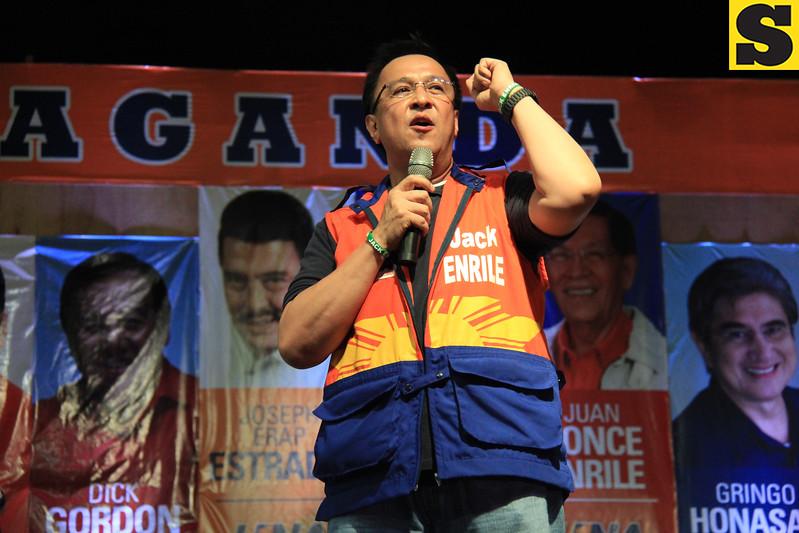 UNA proclamation rally. Senatorial candidate Jack Enrile. (Photo by Daryl D. Anunciado of Sunnex)