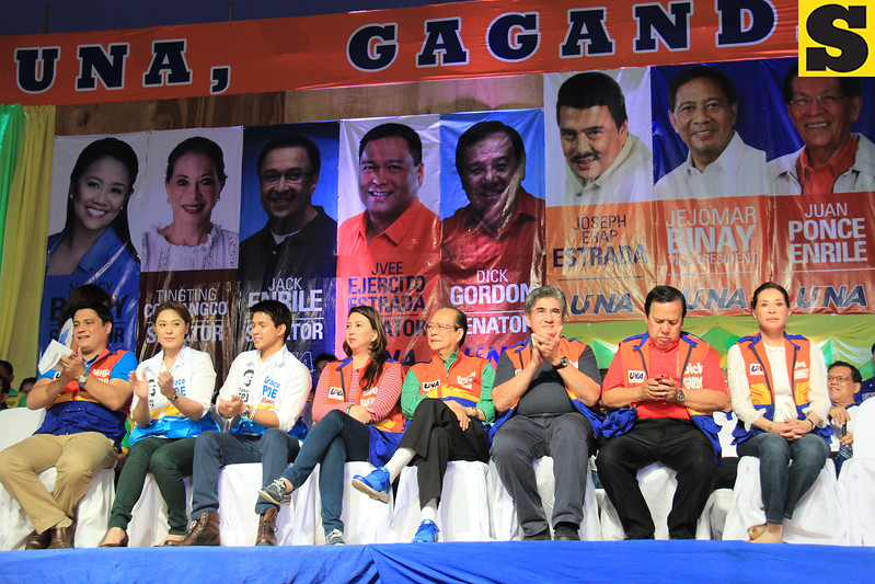 UNA proclamation rally. Senatorial bets (from left) Migz Zubiri, Grace Poe-Llamanzares (represented by Cheryl Cruz and Ryan Poe-Llamanzares), Mitos Magsaysay, Ernesto Maceda, Gringo Honasan, Dick Gordon, and Tingting Cojuanco. (Photo by Daryl D. Anunciado of Sunnex)