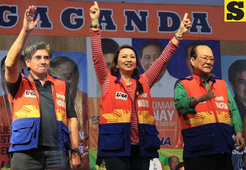 UNA proclamation rally. Senatorial candidates (from left) Gringo Honasan, Mitos Magsaysay, and Ernesto Maceda. (Photo by Daryl D. Anunciado of Sunnex)
