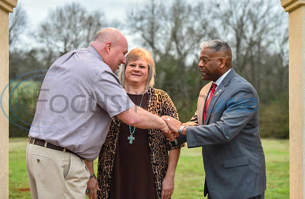Lieutenant Colonel Allen West shakes hands with guests during a Meet and Greet at the 2020 Republican Party President's Dinner on Saturday, February 15. The event was held at The Legacy in Jacksonville.