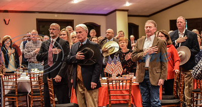 Guests attending the 2020 GOP Dinner in Jacksonville stand for the National Anthem on Saturday, February 15. The event was held at The Legacy with guest speaker Lieutenant Colonel Allen West.