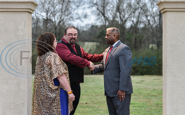 Guest speaker Lieutenant Colonel Allen West shakes hands with Republican Party of Cherokee County Chairman John Earle at the party's Presidents Day Dinner on Saturday, February 15.