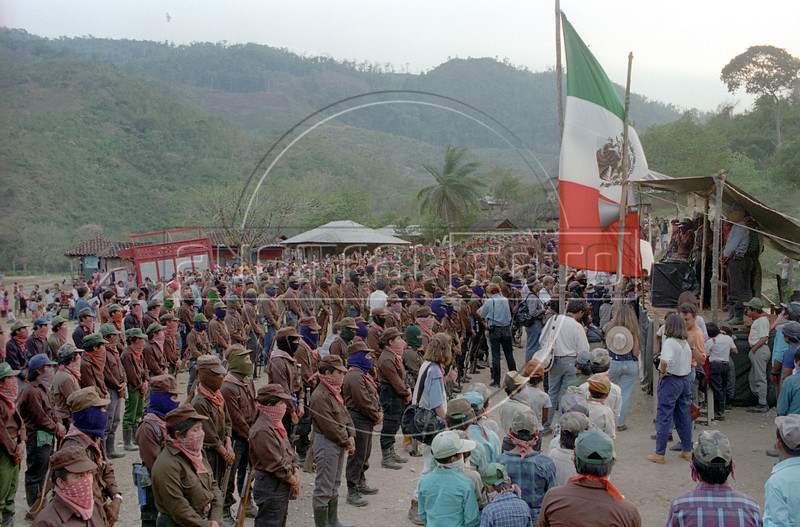 Zapatistas attend a ceremony to conmemorate the first anniversary of their uprising, Jan. 1, 1995. (Australfoto/Douglas Engle)