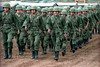 Mexican army troops drill Monday, Jan. 2, 1995 in Las Margaritas, Mexico, in the southeastern state of Chiapas. The army maintains a high profile in the state one year after the Zapatista uprising that shook Mexico. (Australfoto/Douglas Engle)