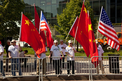 supporters of the Chinese delegation