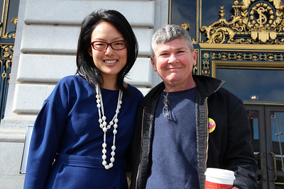 Jane Kim, District 6 Supervisor  Gabriel Haaland, SF-DCCC board member and political Coordinator of SEIU 1021.