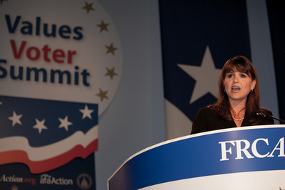 Christine O'Donnell addresses social conservatives at the Values Voter Summit in Washington DC on September 17, 2010. O'Donnell has become a tea party celebrity after winning the Delaware Republican primary for the US Senate earlier in the week. (Photo by Jeff Malet).