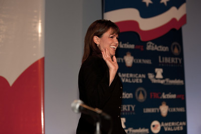 Christine O'Donnell addresses social conservatives at the Values Voter Summit in Washington DC on September 17, 2010. Here making her grand entrance. O'Donnell has become a tea party celebrity after winning the Delaware Republican primary for the US Senate earlier in the week. (Photo by Jeff Malet).