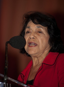 Delores Huerta is the co-founder and First Vice President Emeritus of the United Farm Workers of America, AFL-CIO (UFW), and a member of the Democratic Socialists of America.