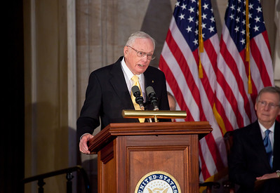 The first man to walk on the moon, Apollo astronaut Neil Armstrong delivers the acceptance speech during the ceremony where space legends Armstrong, John Glenn, Buzz Aldrin and Michael Collins were awarded Congressional Gold Medals, the nation's highest civilian honor, on Wednesday, November 16, 2011. The ceremony was held in the US Capitol Rotunda in Washington DC. (Photo by Jeff Malet)