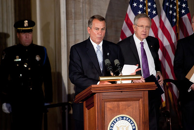 House Speaker John Boehner (R-OH) speaks during ceremony where space legends John Glenn, Neil Armstrong, Buzz Aldrin and Michael Collins were awarded Congressional Gold Medals, the nation's highest civilian honor, on Wednesday, November 16, 2011. The ceremony was held in the US Capitol Rotunda in Washington DC. In background, Senate Majority Leader Harry Reid (D-NV). (Photo by Jeff Malet)