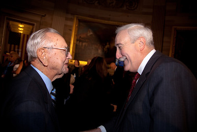 Chris Kraft and Sean O'Keefe chat prior to ceremony where space legends John Glenn, Neil Armstrong, Buzz Aldrin and Michael Collins were awarded Congressional Gold Medals, the nation's highest civilian honor, on Wednesday, November 16, 2011. The ceremony was held in the US Capitol Rotunda in Washington DC. Chris Kraft is a retired NASA engineer and manager who was instrumental in establishing the agency's Mission Control operation. Sean O'Keefe a former Administrator of NASA under President George W Bush. (Photo by Jeff Malet)