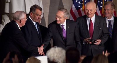 Space legends John Glenn, Neil Armstrong, Buzz Aldrin and Michael Collins were awarded Congressional Gold Medals, the nation's highest civilian honor, on Wednesday, November 16, 2011. The ceremony was held in the US Capitol Rotunda in Washington DC. In photo left to right, Michael Collins, Speaker John Boehner (R-OH), Senate Majority Leader (D-NV), John Glenn, Sen. Bill Nelson (R-FL)/ (Photo by Jeff Malet)