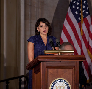"Norah Jones sings ""America the Beautiful"". Space legends John Glenn, Neil Armstrong, Buzz Aldrin and Michael Collins were awarded Congressional Gold Medals, the nation's highest civilian honor, on Wednesday, November 16, 2011. The ceremony was held in the US Capitol Rotunda in Washington DC. (Photo by Jeff Malet)"