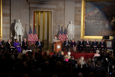 House Minority Leader Nancy Pelosi  (D-CA) speaks during ceremony where space legends John Glenn, Neil Armstrong, Buzz Aldrin and Michael Collins were awarded Congressional Gold Medals, the nation's highest civilian honor, on Wednesday, November 16, 2011. The ceremony was held in the US Capitol Rotunda in Washington DC. (Photo by Jeff Malet)