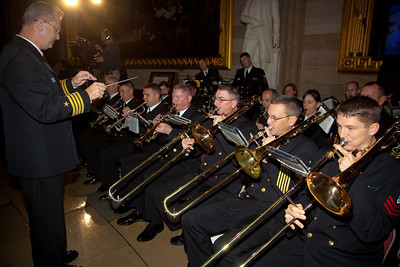 The United States Navy Band performs during ceremony where space legends John Glenn, Neil Armstrong, Buzz Aldrin and Michael Collins were awarded Congressional Gold Medals, the nation's highest civilian honor, on Wednesday, November 16, 2011. The ceremony was held in the US Capitol Rotunda in Washington DC. (Photo by Jeff Malet)