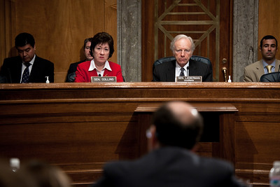 Senators Susan Collins (D-ME) and Sen. Joe Lieberman (I-CN) hear testimony at the Senate Committee on Homeland Security and Governmental Affairs hearings to examine the lessons and implications of the Christmas Day attack, focusing on securing the visa process. April 21, 2010.  (Photo by Jeff Malet)