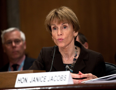 State Department witness, Assistant Secretary for Consular Affairs Janice Jacobs testifies at the Senate Committee on Homeland Security and Governmental Affairs hearings to examine the lessons and implications of the Christmas Day attack, focusing on securing the visa process. April 21, 2010.  (Photo by Jeff Malet)