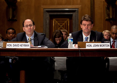 DHS Assistant Secretary of Policy David Heyman and DHS Assistant Secretary of Immigration and Customs Enforcement John Morton testify at the Senate Committee on Homeland Security and Governmental Affairs hearings to examine the lessons and implications of the Christmas Day attack, focusing on securing the visa process. April 21, 2010.  (Photo by Jeff Malet)