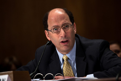 DHS Assistant Secretary of Policy David Heyman testifies at the Senate Committee on Homeland Security and Governmental Affairs hearings to examine the lessons and implications of the Christmas Day attack, focusing on securing the visa process. April 21, 2010.  (Photo by Jeff Malet)