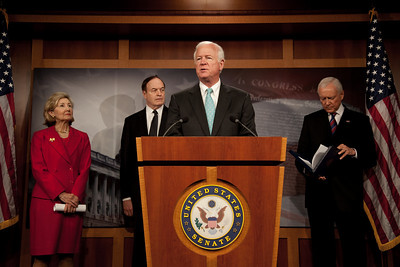 Senator Saxby Chambliss (R-GA) joins Senator Kay Bailey Hutchison (R-TX), Orrin Hatch (R-UT) and Richard Shelby (R-AL) in a press conference on Capitol Hill to discuss financial reform legislation on April 21, 2010. (Photo by Jeff Malet)
