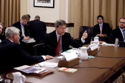Bob Graham and Jim Talent present testimony on the threat of bioterror to the House Homeland Security Committee. Bob Graham, a former Democratic senator from Florida, and Jim Talent, a former Republican senator from Missouri, are chairman and co-chairman of the Commission on the Prevention of Weapons of Mass Destruction Proliferation and Terrorism. Washington DC, April 21, 2010. (Photo by Jeff Malet)