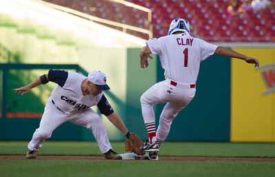Wm. Lacy Clay (D-MO-01) slides into second base ahead of the tag but is eventually called out when he slides off the bag.
