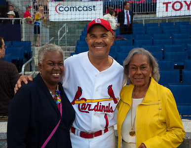 Rachel Robinson, the widow of the legendary Jackie Robinson, who broke baseball's color barrier in April 1947, attended the 49th annual Congressional Baseball Game, Mrs. Robinson poses here with Congressman William Lacy Clay (D-MO)
