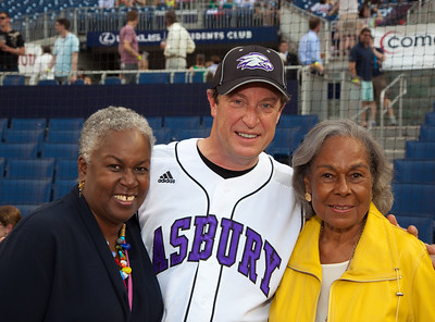 """Rachel Robinson, the widow of the legendary Jackie Robinson, who broke baseball's color barrier in April 1947, attended the 49th annual Congressional Baseball Game, Mrs. Robinson poses here with Congressman Ben Chandler (D-KY).  He is the grandson of then baseball commissioner """"Happy"""" Chandler who had played a major role in integrating baseball. (Photo by Jeff Malet)"""