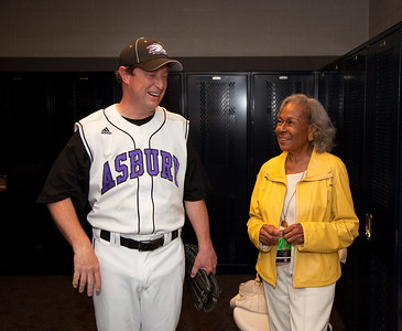"Rachel Robinson, the widow of the legendary Jackie Robinson, who broke baseball's color barrier in April 1947, attended the 49th annual Congressional Baseball Game, which saw the Democrats defeat the Republicans, 13-5, on Tuesday night, June 29, at Nationals Park.  Mrs. Robinson poses here with Congressman Ben Chandler (D-KY).  He is the grandson of then baseball commissioner ""Happy"" Chandler who had played a major role in integrating baseball. (Photo by Jeff Malet)"