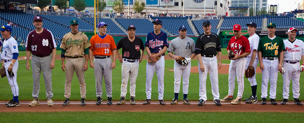 Members of the Republican Congressional Baseball Team are introduced.