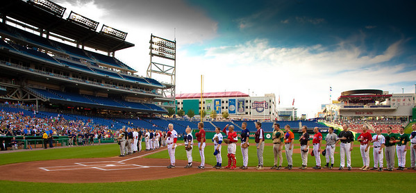 Congressional Baseball Team members are introduced at the start of the Congressional Baseball Game at Nationals Park in Washington DC on Tuesday, June 29, 2010. The game was tied until the last inning when the Democrats scored nine runs. The Republicans could answer with only one additional run, leaving the final score 13-5. (Photo by Jeff Malet)
