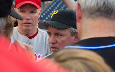 Manager Rep. Mike Doyle (D-PA) in pre-game huddle.
