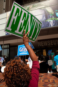 DC Mayor Adrian Fenty supporters rally at the Newseum.  Mayor Adrian Fenty and Vincent Gray have just finished a debate, two weeks before their crucial September 14 Democratic primary. The debate was held at The Newseum's Walter and Leonore Annenberg Theater in Washington DC on September 1, 2010.  Among the topics discussed were unemployment, public safety and schools. (Photo by Jeff Malet)