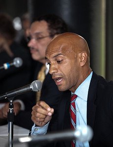 DC Mayor Adrian Fenty (shown here) and Vincent Gray conduct their final debate, just days before their crucial September14 Democratic primary for DC mayor. The debate was held at at Tony and Joe's Seafood Place on Washington Harbo rin the Georgetown section of Washington DC on September 10, 2010. Also participating was a third mayoral candidate Leo Alexander. (Photo by Jeff Malet)