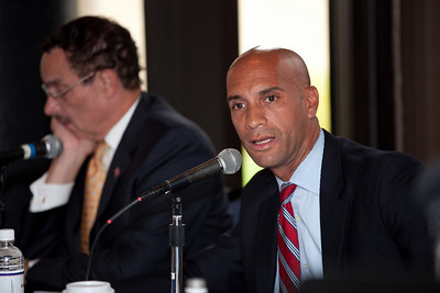DC Mayor Adrian Fenty (right) and Vincent Gray (left) conduct their final debate, just days before their crucial September14 Democratic primary for DC mayor. The debate was held at at Tony and Joe's Seafood Place on Washington Harbor in the Georgetown section of Washington DC on September 10, 2010. Also participating was a third mayoral candidate Leo Alexander. (Photo by Jeff Malet)