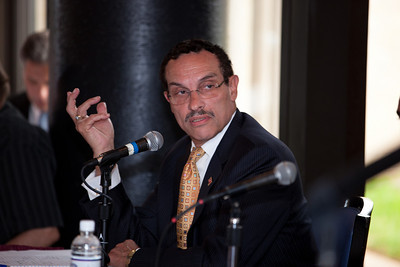 Vincent Gray (shown here) and DC Mayor Adrian Fenty conduct their final debate, just days before their crucial September14 Democratic primary for DC mayor. The debate was held at at Tony and Joe's Seafood Place on Washington Harbor in the Georgetown section of Washington DC on September 10, 2010. Also participating was a third mayoral candidate Leo Alexander. (Photo by Jeff Malet)