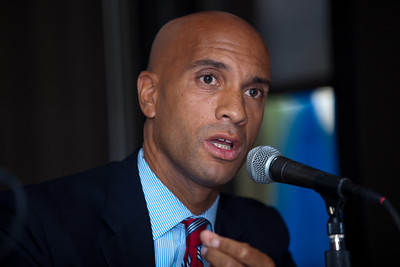 DC Mayor Adrian Fenty (shown here) and Vincent Gray conduct their final debate, just days before their crucial September14 Democratic primary for DC mayor. The debate was held at at Tony and Joe's Seafood Place on Washington Harbor in the Georgetown section of Washington DC on September 10, 2010. Also participating was a third mayoral candidate Leo Alexander. (Photo by Jeff Malet)