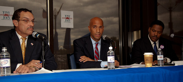 DC Mayor Adrian Fenty (seated in the center) and Vincent Gray (left)  begin their final debate, just days before their crucial September14 Democratic primary for DC mayor. The debate was held at at Tony and Joe's Seafood Place on Washington Harbor in the Georgetown section of Washington DC on September 10, 2010. Also participating is a third mayoral candidate Leo Alexander seated on the right. (Photo by Jeff Malet)
