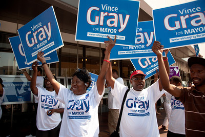 DC mayoral candidate Council Chairman Vincent Gray supporters rally at the Newseum.  Mayor Adrian Fenty and Vincent Gray are about to debate, two weeks before their crucial September 14 Democratic primary. The debate was held at The Newseum's Walter and Leonore Annenberg Theater in Washington DC on September 1, 2010.  Among the topics discussed were unemployment, public safety and schools. (Photo by Jeff Malet)