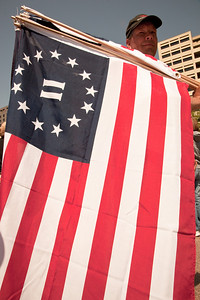 Protesters wave flags that represent the Second American Revolution.