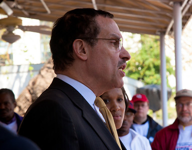 Taxation Without Representation once again is the slogan. In photo, DC Mayor Vincent Gray addresses a rally for DC representation in Congress. DC shadow Senator Michael Brown was one of three arrested in an act of civil disobedience during a protest outside the Hart Senate Office Building on Capitol Hill in Washington DC on April 15, 2011. Brown joined a youth day Tax Protest targeting Senate Majority Leader Harry Reid (D-NV) who earlier in a budget deal with Republicans put restrictions on the District's ability to fund abortions providers. Also participating in the protest were DC Vote, an educational and advocacy organization dedicated to securing full voting representation in Congress and full democracy for the residents of the District of Columbia. DC Mayor Vincent Gray, pictured here, who had been arrested at a similar protest earlier in the week, spoke to the group. (Photo by Jeff Malet)
