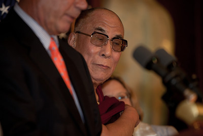 The Dalai Lama makes remarks on Capitol Hill in Washington DC, July 7, 2011, as he is warmly welcomed by House Speaker John Boehner (R-OH), and House Minority Leader Nancy Pelosi (D-CA). The Dalai Lama met with several U.S. lawmakers in his first visit to the United States since he retired as the political leader of the Tibetan government in exile.  (Photo by Jeff Malet)