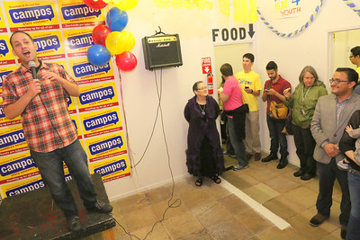Comedian and supporter, Nato Green, served as the event's MC.  Saturday, March 29th, 2014, David Campos for State Assembly AD17 Campaign HQ, 3143 Mission Street, San Francisco.   http://www.davidcampossf.com https://www.facebook.com/davidcampossf