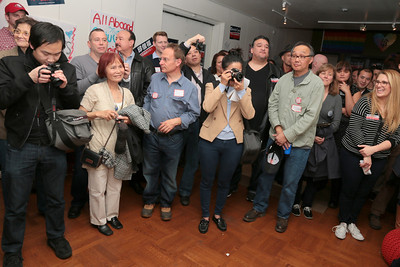 David Chiu addresses his supporters to great applause and enthusiasm.