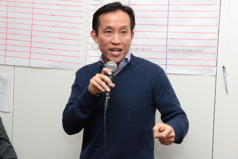 Candidate Chiu addressing his supporters.
